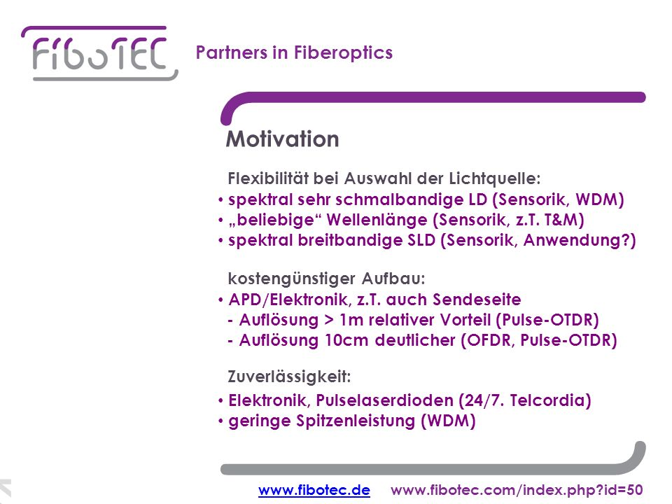 Korrelations-OTDR Partners in Fiberoptics Motivation Elektronik, Pulselaserdioden (24/7.