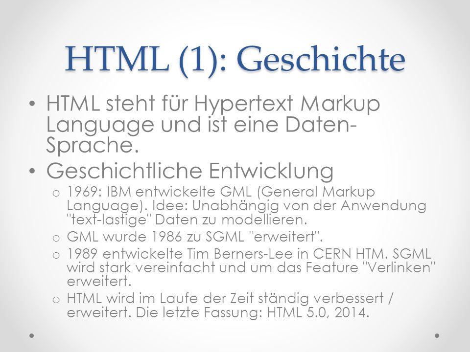 HTML (1): Geschichte HTML steht für Hypertext Markup Language und ist eine Daten- Sprache.
