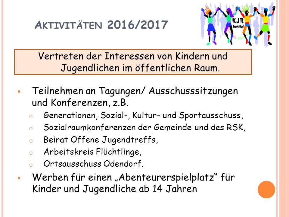 A KTIVITÄTEN 2016/2017  Teilnehmen an Tagungen/ Ausschusssitzungen und Konferenzen, z.B.