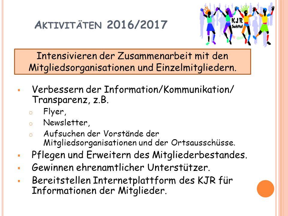 A KTIVITÄTEN 2016/2017  Verbessern der Information/Kommunikation/ Transparenz, z.B.