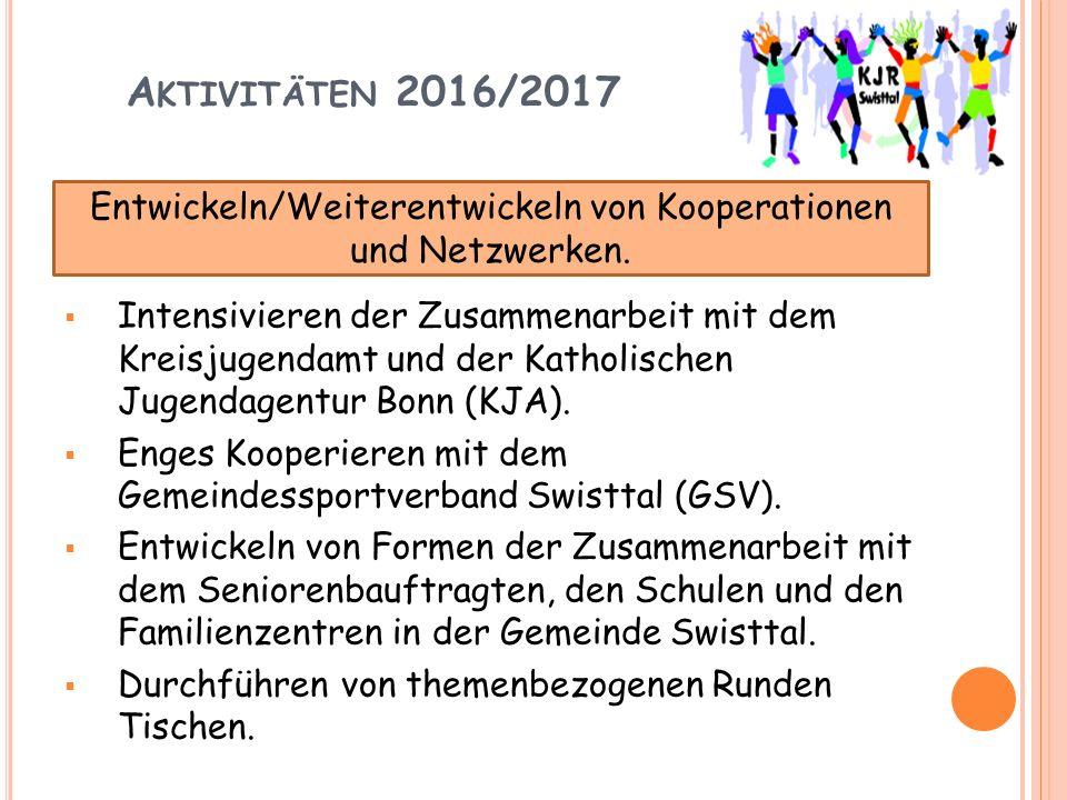 A KTIVITÄTEN 2016/2017  Intensivieren der Zusammenarbeit mit dem Kreisjugendamt und der Katholischen Jugendagentur Bonn (KJA).