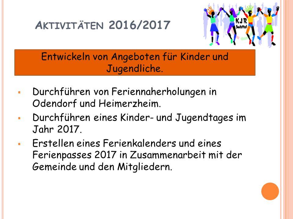 A KTIVITÄTEN 2016/2017  Durchführen von Feriennaherholungen in Odendorf und Heimerzheim.