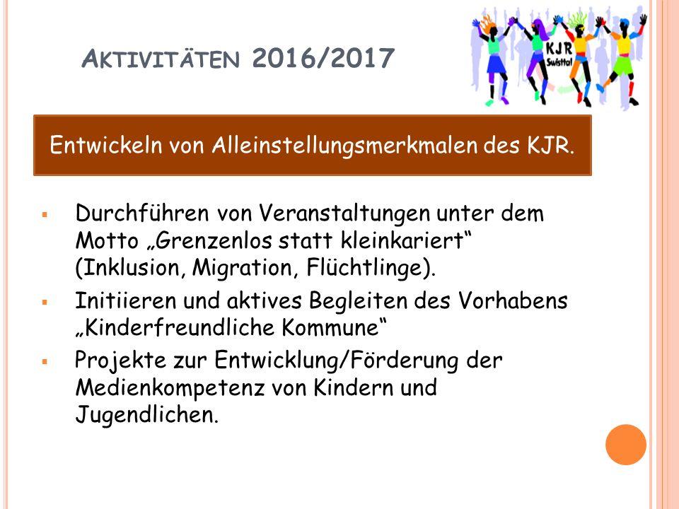 """A KTIVITÄTEN 2016/2017  Durchführen von Veranstaltungen unter dem Motto """"Grenzenlos statt kleinkariert (Inklusion, Migration, Flüchtlinge)."""