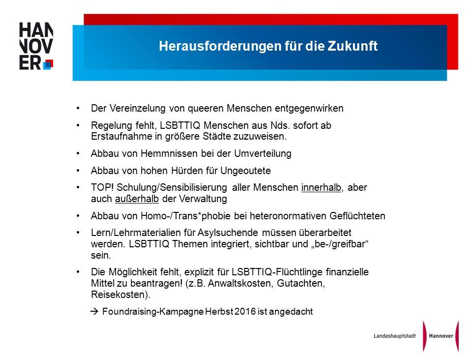 Herausforderungen für die Zukunft Der Vereinzelung von queeren Menschen entgegenwirken Regelung fehlt, LSBTTIQ Menschen aus Nds.