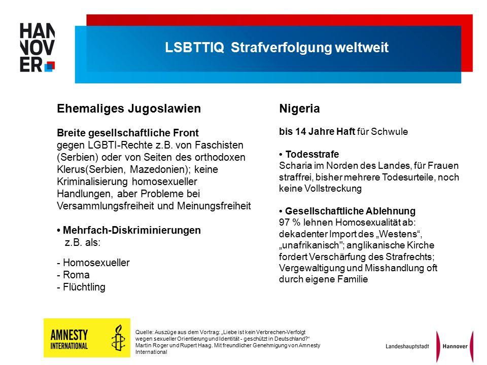 """bis 14 Jahre Haft für Schwule Todesstrafe Scharia im Norden des Landes, für Frauen straffrei, bisher mehrere Todesurteile, noch keine Vollstreckung Gesellschaftliche Ablehnung 97 % lehnen Homosexualität ab: dekadenter Import des """"Westens , """"unafrikanisch ; anglikanische Kirche fordert Verschärfung des Strafrechts; Vergewaltigung und Misshandlung oft durch eigene Familie Breite gesellschaftliche Front gegen LGBTI-Rechte z.B."""