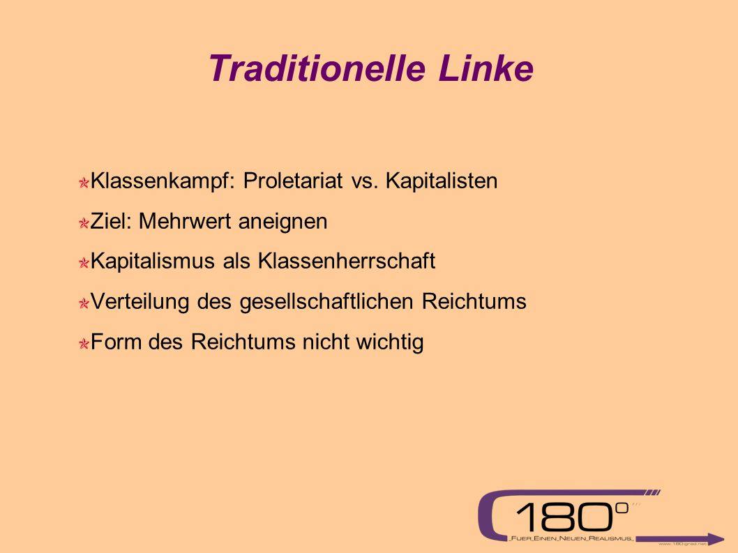 Traditionelle Linke Klassenkampf: Proletariat vs.