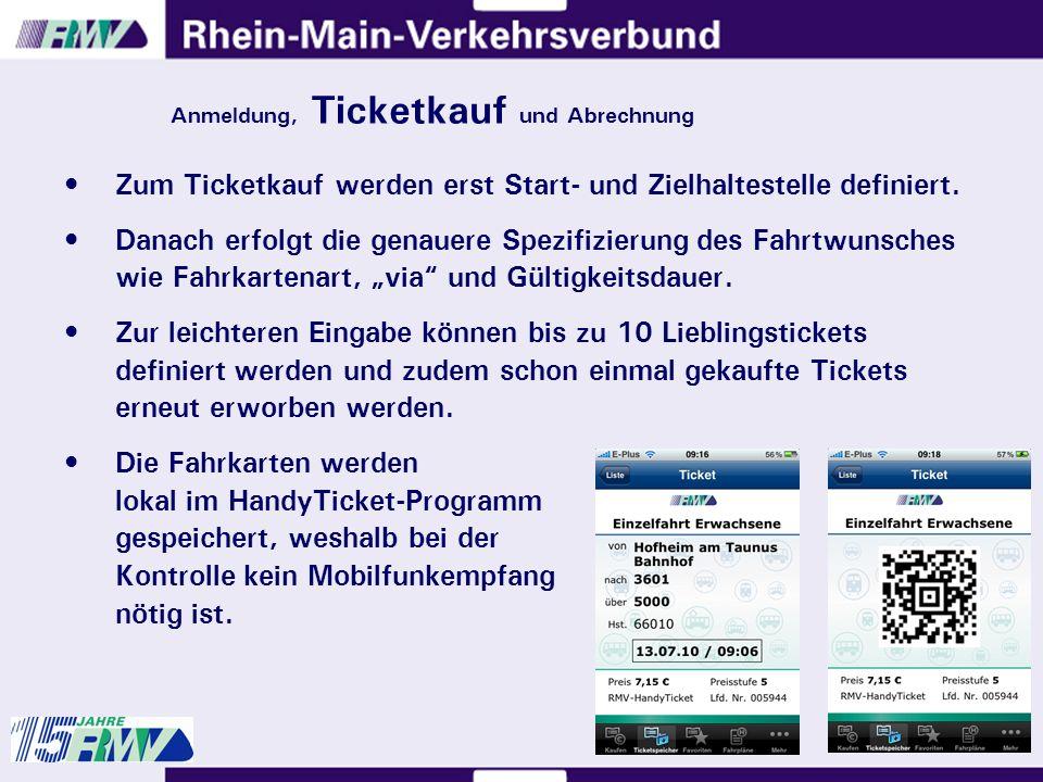 Zum Ticketkauf werden erst Start- und Zielhaltestelle definiert.