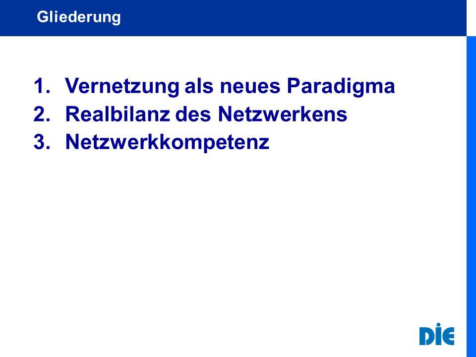 1.Vernetzung als neues Paradigma 2.Realbilanz des Netzwerkens 3.Netzwerkkompetenz Gliederung