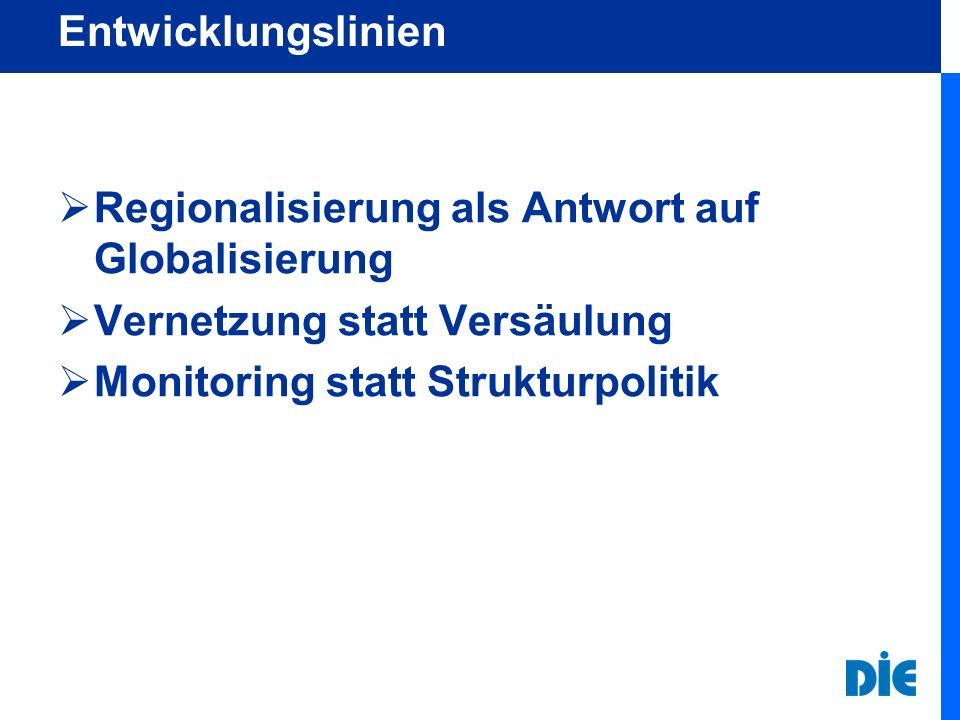 Entwicklungslinien  Regionalisierung als Antwort auf Globalisierung  Vernetzung statt Versäulung  Monitoring statt Strukturpolitik