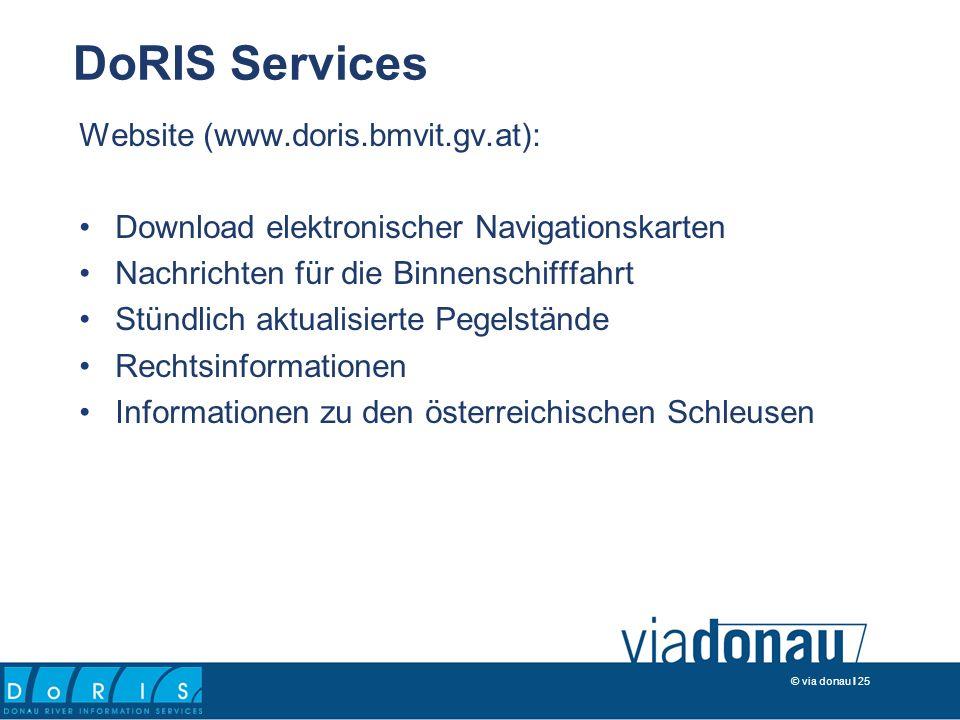 © via donau I 25 Website (www.doris.bmvit.gv.at): Download elektronischer Navigationskarten Nachrichten für die Binnenschifffahrt Stündlich aktualisierte Pegelstände Rechtsinformationen Informationen zu den österreichischen Schleusen DoRIS Services