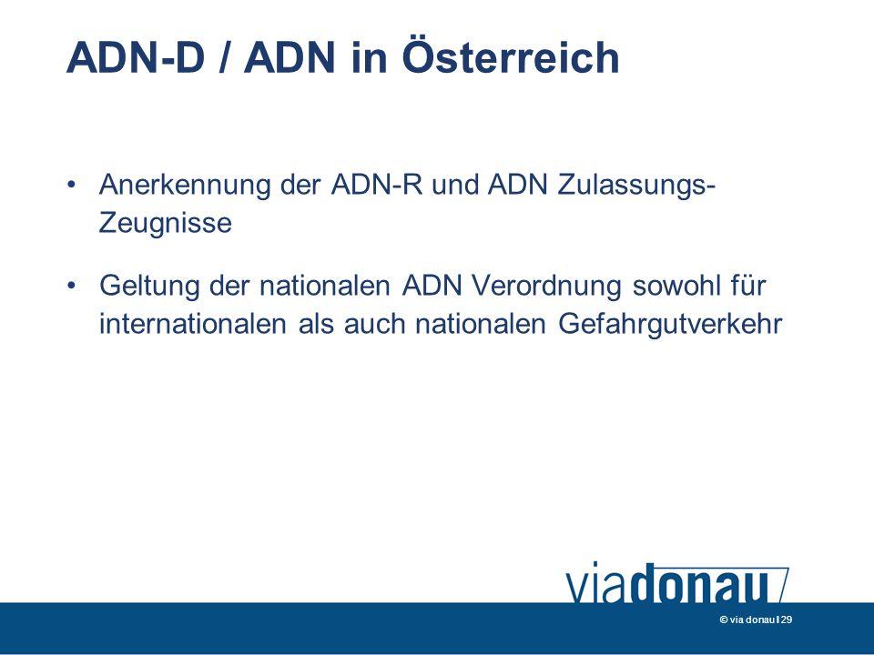 © via donau I 29 ADN-D / ADN in Österreich Anerkennung der ADN-R und ADN Zulassungs- Zeugnisse Geltung der nationalen ADN Verordnung sowohl für internationalen als auch nationalen Gefahrgutverkehr