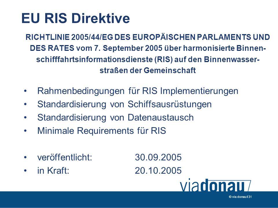 © via donau I 31 EU RIS Direktive RICHTLINIE 2005/44/EG DES EUROPÄISCHEN PARLAMENTS UND DES RATES vom 7.