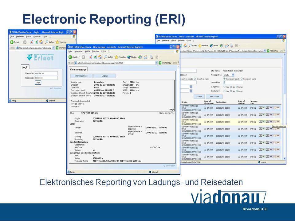 © via donau I 35 Elektronisches Reporting von Ladungs- und Reisedaten Electronic Reporting (ERI)