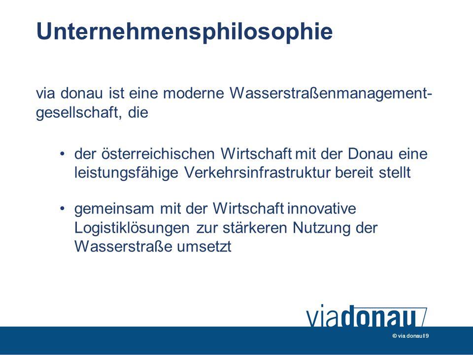 © via donau I 9 Unternehmensphilosophie via donau ist eine moderne Wasserstraßenmanagement- gesellschaft, die der österreichischen Wirtschaft mit der Donau eine leistungsfähige Verkehrsinfrastruktur bereit stellt gemeinsam mit der Wirtschaft innovative Logistiklösungen zur stärkeren Nutzung der Wasserstraße umsetzt
