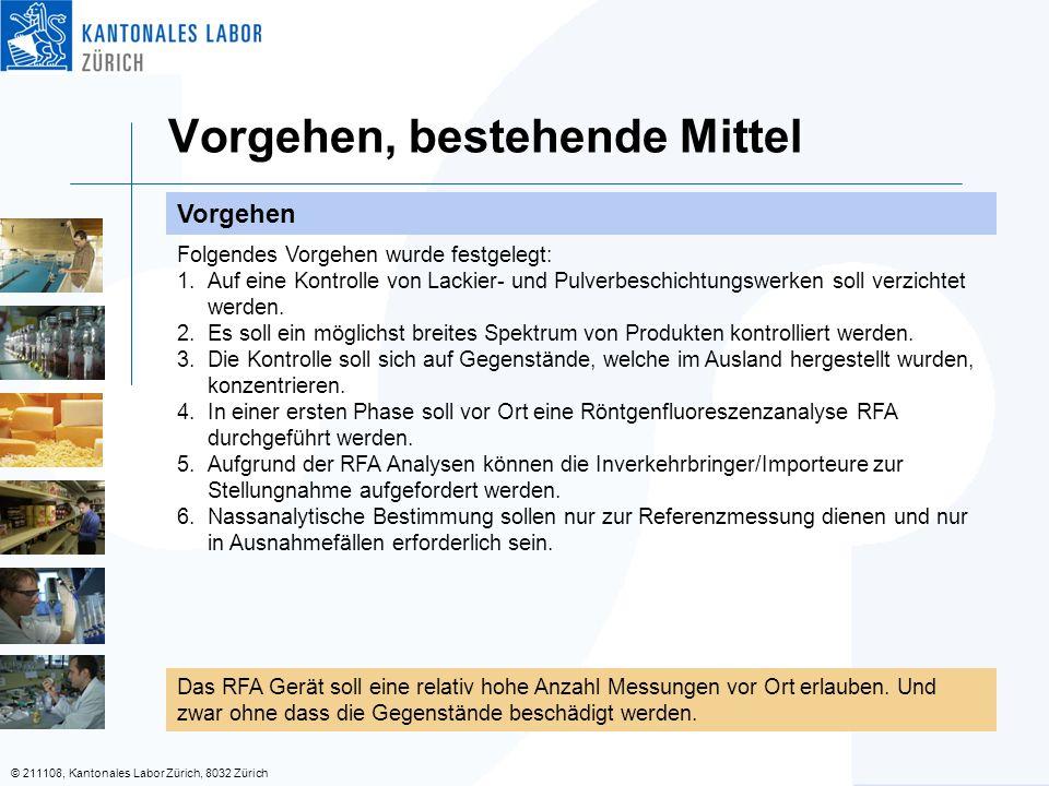 © 211108, Kantonales Labor Zürich, 8032 Zürich Vorgehen, bestehende Mittel Vorgehen Folgendes Vorgehen wurde festgelegt: 1.Auf eine Kontrolle von Lackier- und Pulverbeschichtungswerken soll verzichtet werden.