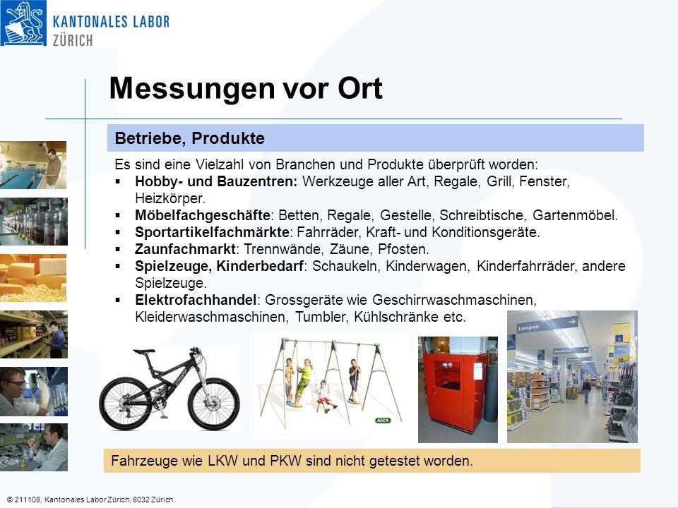 © 211108, Kantonales Labor Zürich, 8032 Zürich Messungen vor Ort Betriebe, Produkte Fahrzeuge wie LKW und PKW sind nicht getestet worden.