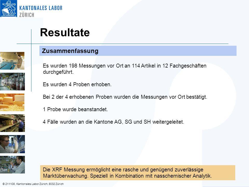 © 211108, Kantonales Labor Zürich, 8032 Zürich Resultate Zusammenfassung Es wurden 198 Messungen vor Ort an 114 Artikel in 12 Fachgeschäften durchgeführt.