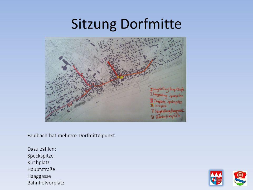 Sitzung Dorfmitte Faulbach hat mehrere Dorfmittelpunkt Dazu zählen: Speckspitze Kirchplatz Hauptstraße Haaggasse Bahnhofvorplatz