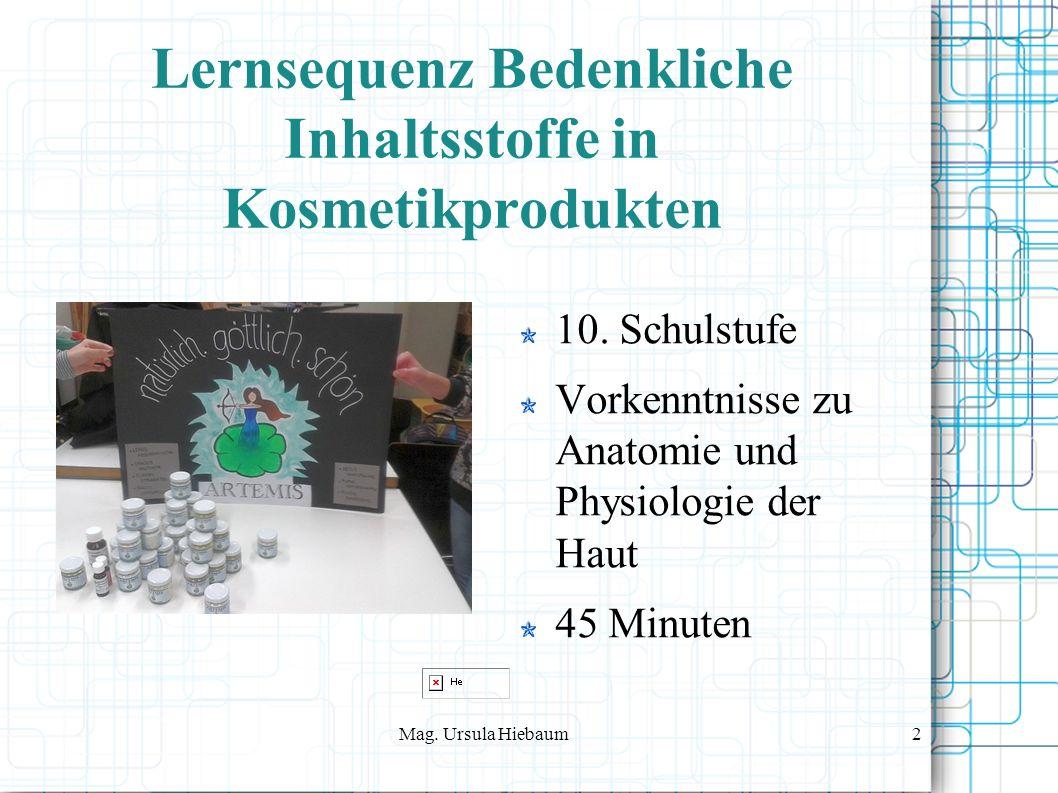 Mag. Ursula Hiebaum2 Lernsequenz Bedenkliche Inhaltsstoffe in Kosmetikprodukten 10.