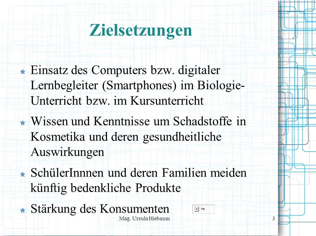 Mag. Ursula Hiebaum3 Zielsetzungen Einsatz des Computers bzw.
