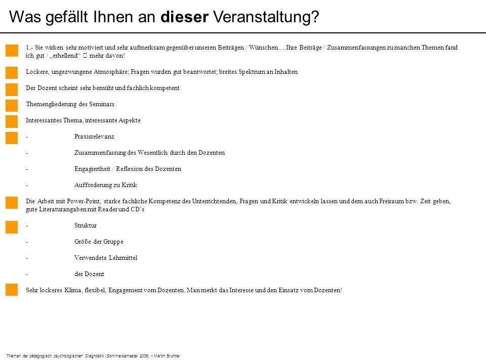 Themen der pädagogisch psychologischen Diagnostik (Sommersemester 2006) Martin Brunner Was gefällt Ihnen an dieser Veranstaltung.