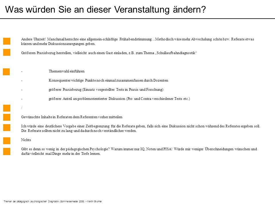 Themen der pädagogisch psychologischen Diagnostik (Sommersemester 2006) Martin Brunner Was würden Sie an dieser Veranstaltung ändern.