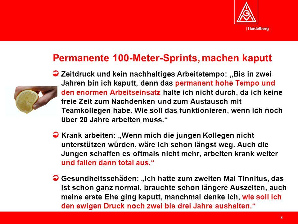 """Heidelberg Permanente 100-Meter-Sprints, machen kaputt Zeitdruck und kein nachhaltiges Arbeitstempo: """"Bis in zwei Jahren bin ich kaputt, denn das permanent hohe Tempo und den enormen Arbeitseinsatz halte ich nicht durch, da ich keine freie Zeit zum Nachdenken und zum Austausch mit Teamkollegen habe."""