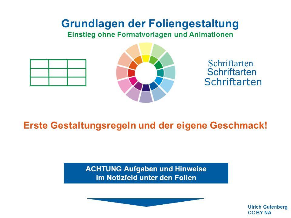 Grundlagen der Foliengestaltung Einstieg ohne Formatvorlagen und Animationen Schriftarten Ulrich Gutenberg CC BY NA ACHTUNG Aufgaben und Hinweise im Notizfeld unter den Folien Erste Gestaltungsregeln und der eigene Geschmack!