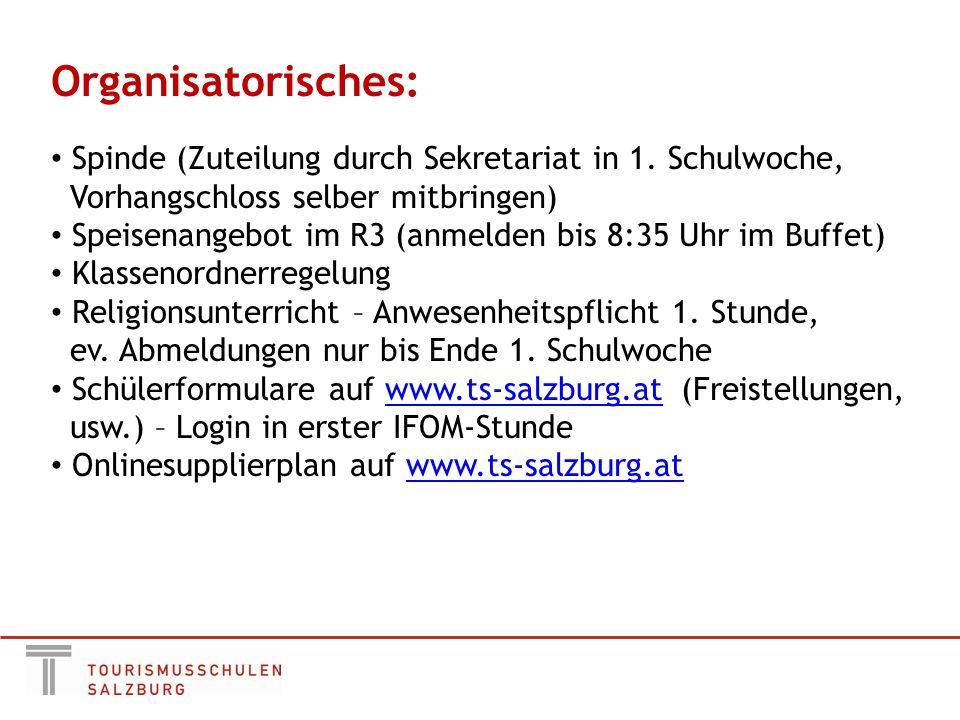 Organisatorisches: Spinde (Zuteilung durch Sekretariat in 1.