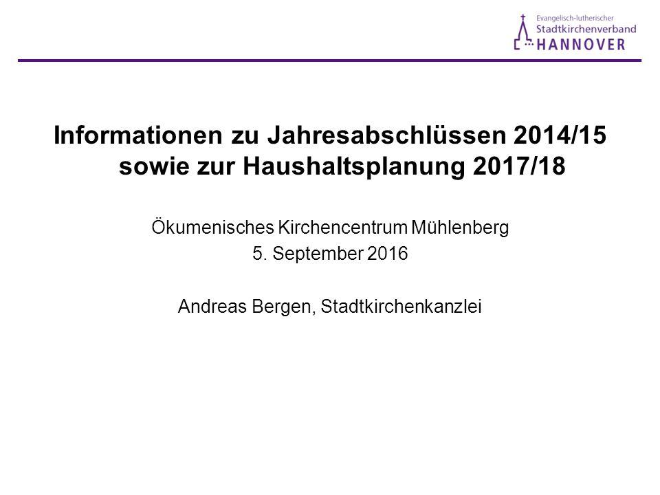Informationen zu Jahresabschlüssen 2014/15 sowie zur Haushaltsplanung 2017/18 Ökumenisches Kirchencentrum Mühlenberg 5.