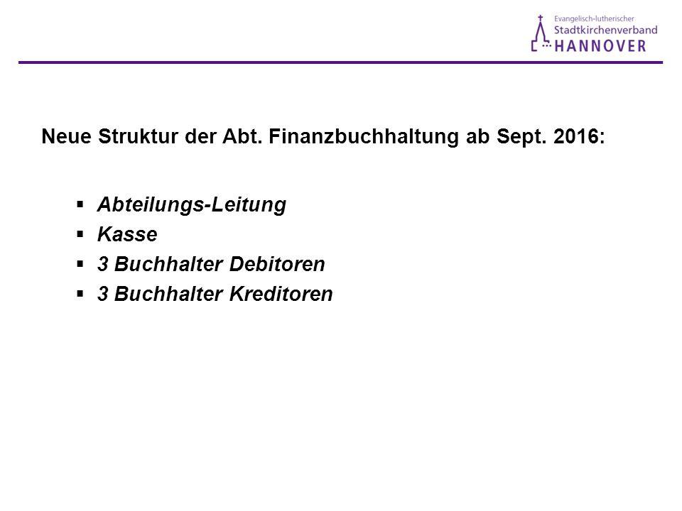 Neue Struktur der Abt. Finanzbuchhaltung ab Sept.