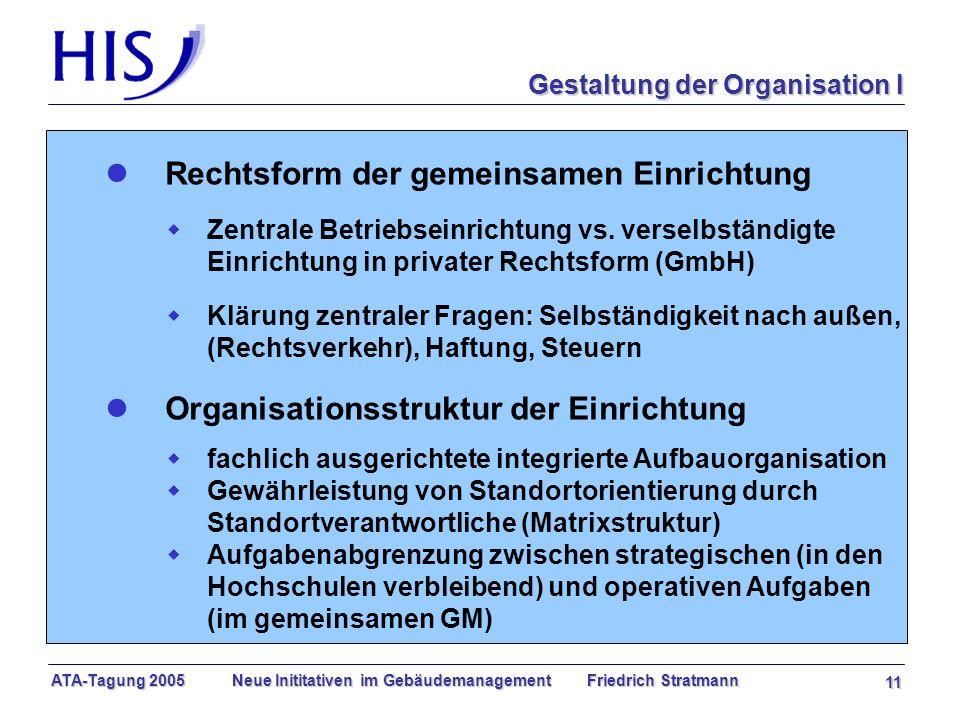 ATA-Tagung 2005 Neue Inititativen im Gebäudemanagement Friedrich Stratmann 11 l Rechtsform der gemeinsamen Einrichtung w Zentrale Betriebseinrichtung vs.