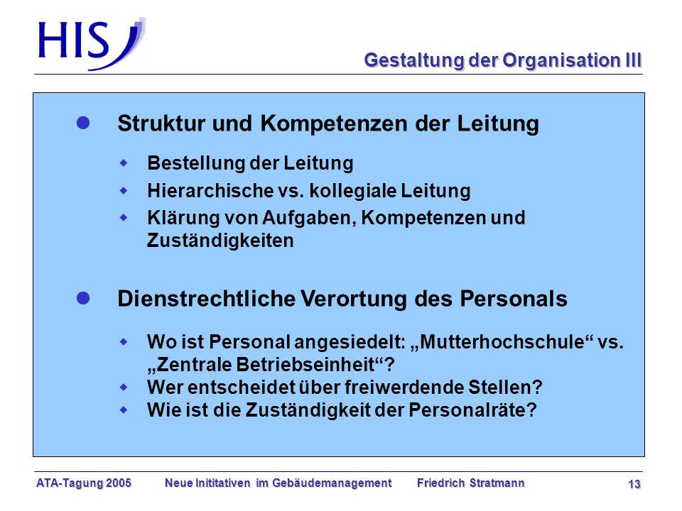 ATA-Tagung 2005 Neue Inititativen im Gebäudemanagement Friedrich Stratmann 13 l Struktur und Kompetenzen der Leitung w Bestellung der Leitung w Hierarchische vs.