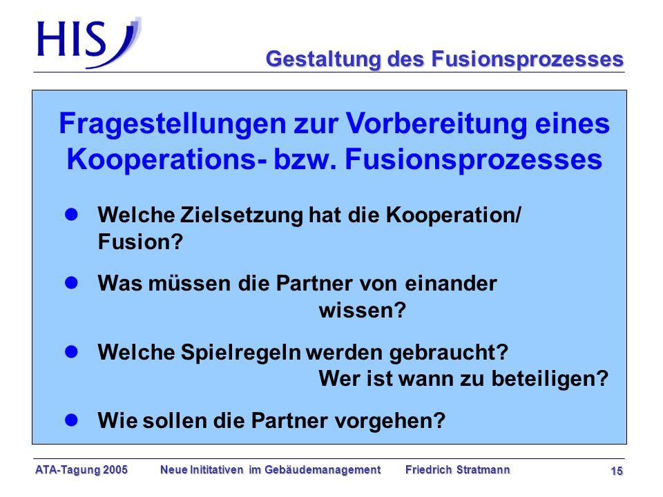 ATA-Tagung 2005 Neue Inititativen im Gebäudemanagement Friedrich Stratmann 15 Fragestellungen zur Vorbereitung eines Kooperations- bzw.