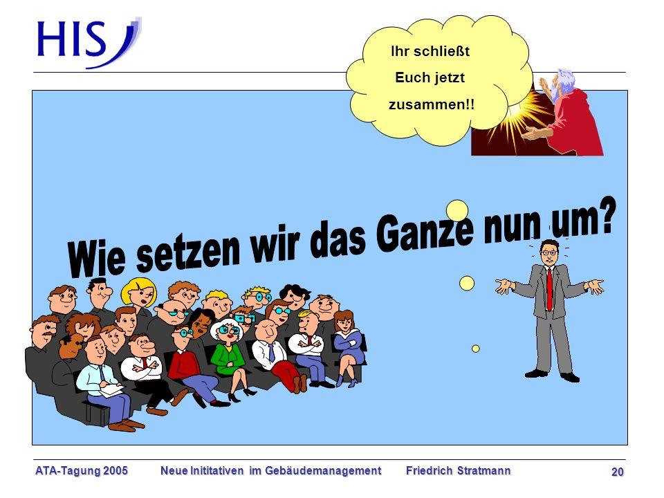 ATA-Tagung 2005 Neue Inititativen im Gebäudemanagement Friedrich Stratmann 20 Ihr schließt Euch jetzt zusammen!!