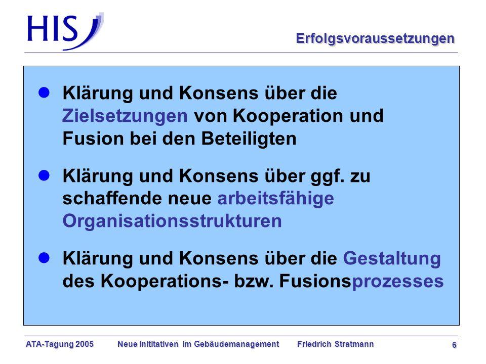 ATA-Tagung 2005 Neue Inititativen im Gebäudemanagement Friedrich Stratmann 6 l Klärung und Konsens über die Zielsetzungen von Kooperation und Fusion bei den Beteiligten l Klärung und Konsens über ggf.