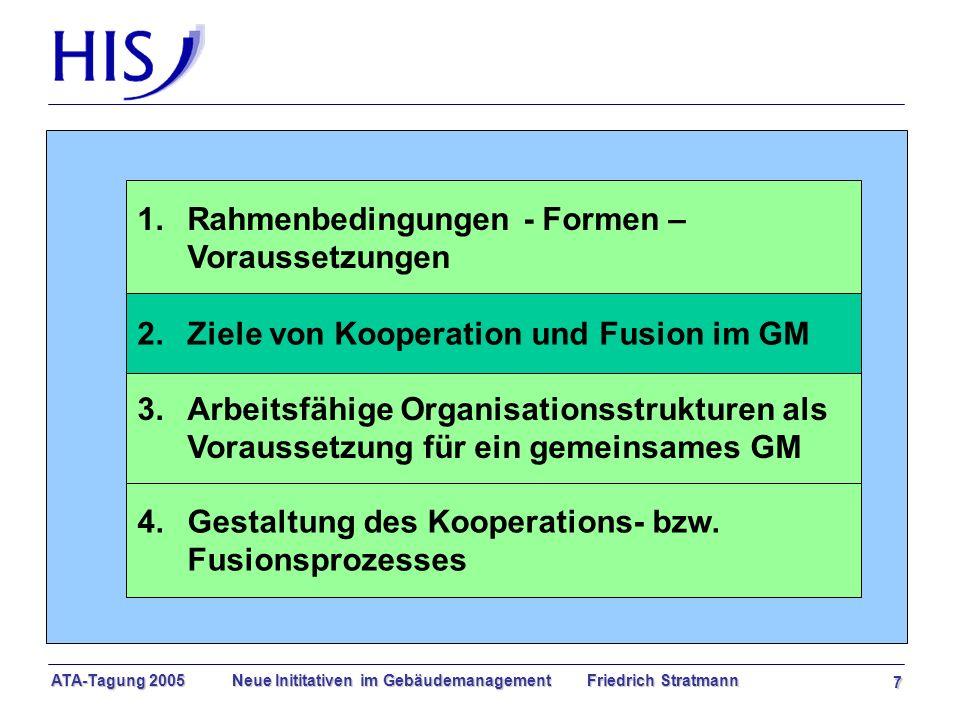 ATA-Tagung 2005 Neue Inititativen im Gebäudemanagement Friedrich Stratmann 7 1.Rahmenbedingungen - Formen – Voraussetzungen 3.