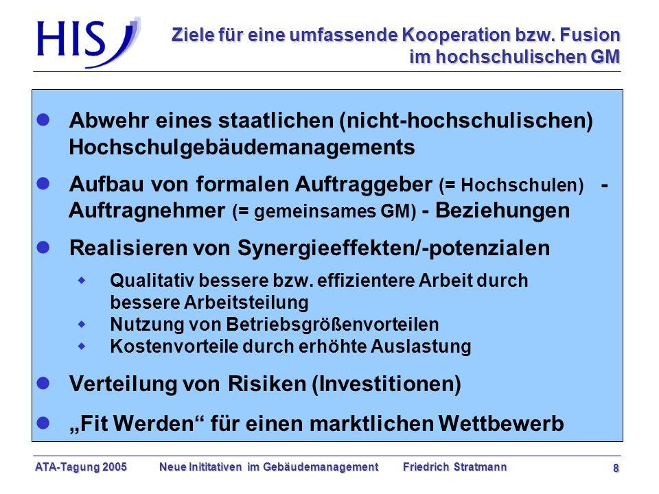 ATA-Tagung 2005 Neue Inititativen im Gebäudemanagement Friedrich Stratmann 8 Ziele für eine umfassende Kooperation bzw.