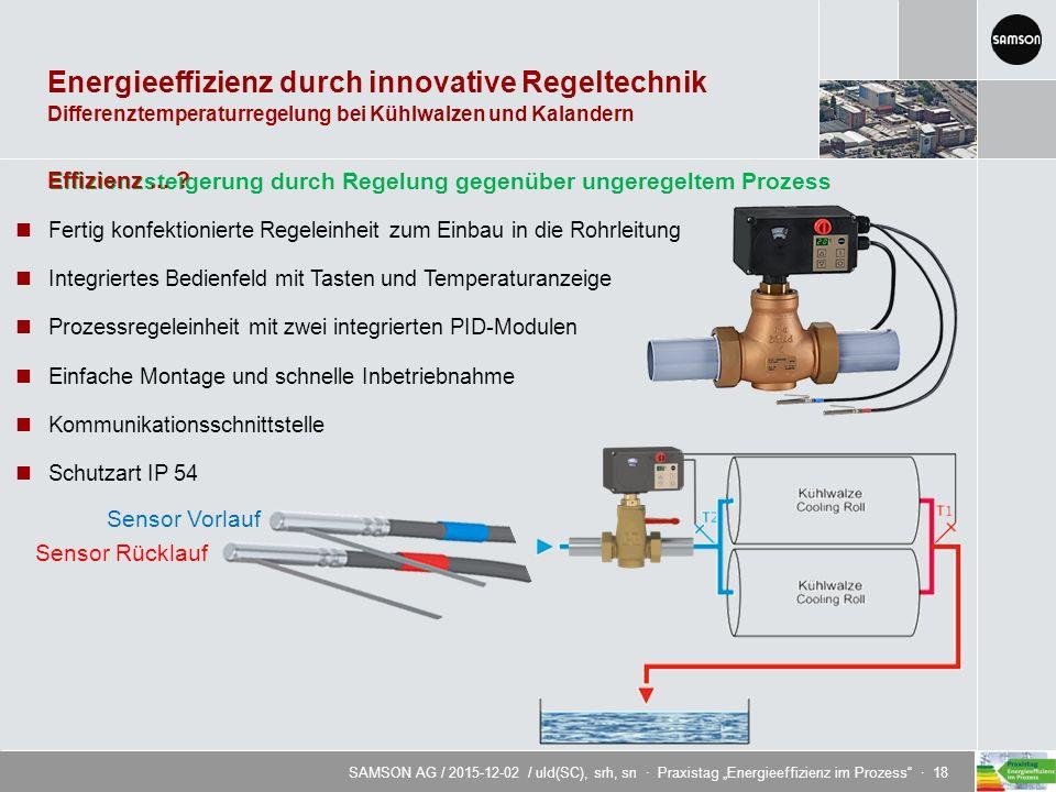 """SAMSON AG / 2015-12-02 / uld(SC), srh, sn · Praxistag """"Energieeffizienz im Prozess · 18 Energieeffizienz durch innovative Regeltechnik Sensor Rücklauf Sensor Vorlauf Differenztemperaturregelung bei Kühlwalzen und Kalandern Effizienzsteigerung durch Regelung gegenüber ungeregeltem Prozess Effizienz..."""