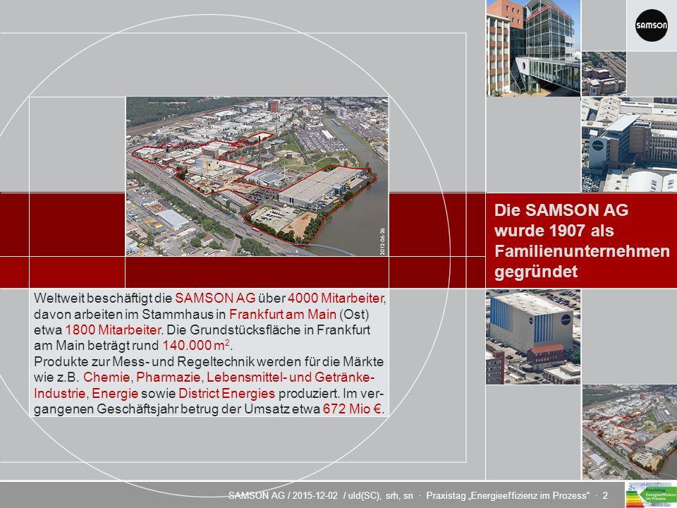 """SAMSON AG / 2015-12-02 / uld(SC), srh, sn · Praxistag """"Energieeffizienz im Prozess · 2 Energieeffizienz durch innovative Regeltechnik Weltweit beschäftigt die SAMSON AG über 4000 Mitarbeiter, davon arbeiten im Stammhaus in Frankfurt am Main (Ost) etwa 1800 Mitarbeiter."""