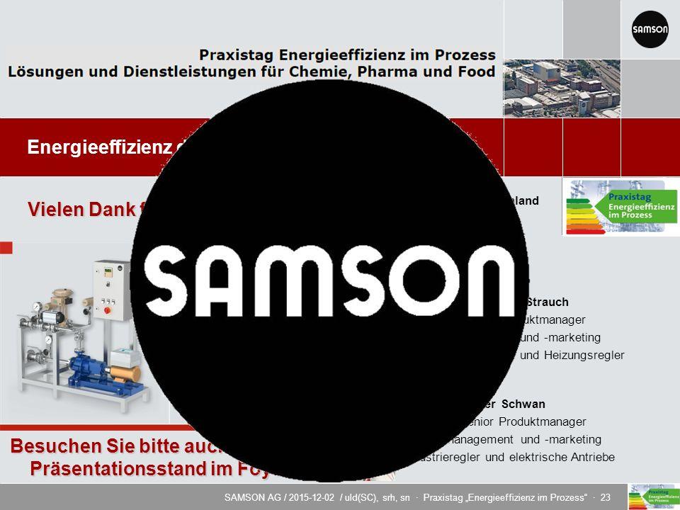 """SAMSON AG / 2015-12-02 / uld(SC), srh, sn · Praxistag """"Energieeffizienz im Prozess · 23 Energieeffizienz durch innovative Regeltechnik Dipl.-Ing."""