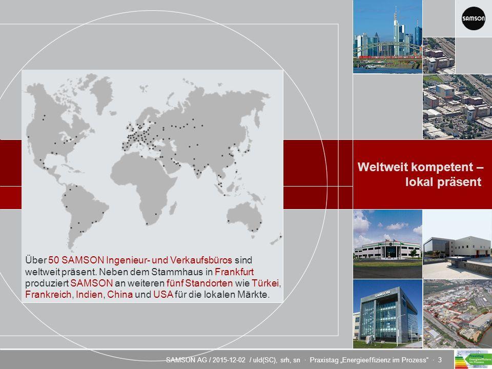 """SAMSON AG / 2015-12-02 / uld(SC), srh, sn · Praxistag """"Energieeffizienz im Prozess · 3 Energieeffizienz durch innovative Regeltechnik Weltweit kompetent – lokal präsent Mitarbeiter der SAMSON GROUP: weltweit 3300 Europa 2760 · Asien 400 · Amerika 140 Über 50 SAMSON Ingenieur- und Verkaufsbüros sind weltweit präsent."""
