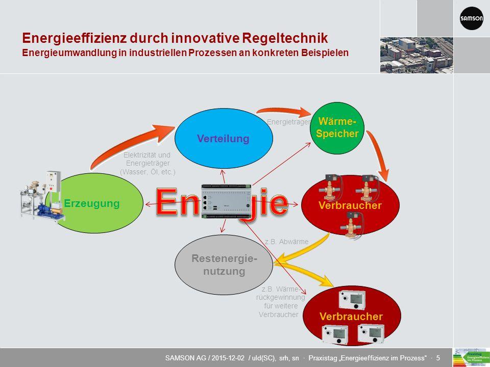 """SAMSON AG / 2015-12-02 / uld(SC), srh, sn · Praxistag """"Energieeffizienz im Prozess · 5 Energieeffizienz durch innovative Regeltechnik ErzeugungVerteilungVerbraucher z.B."""