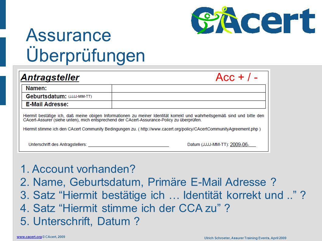 www.cacert.orgwww.cacert.org © CAcert, 2009 Ulrich Schroeter, Assurer Training Events, April 2009 Assurance Überprüfungen 1.