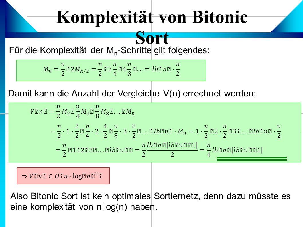Komplexität von Bitonic Sort Für die Komplexität der M n -Schritte gilt folgendes: Damit kann die Anzahl der Vergleiche V(n) errechnet werden: Also Bitonic Sort ist kein optimales Sortiernetz, denn dazu müsste es eine komplexität von n log(n) haben.