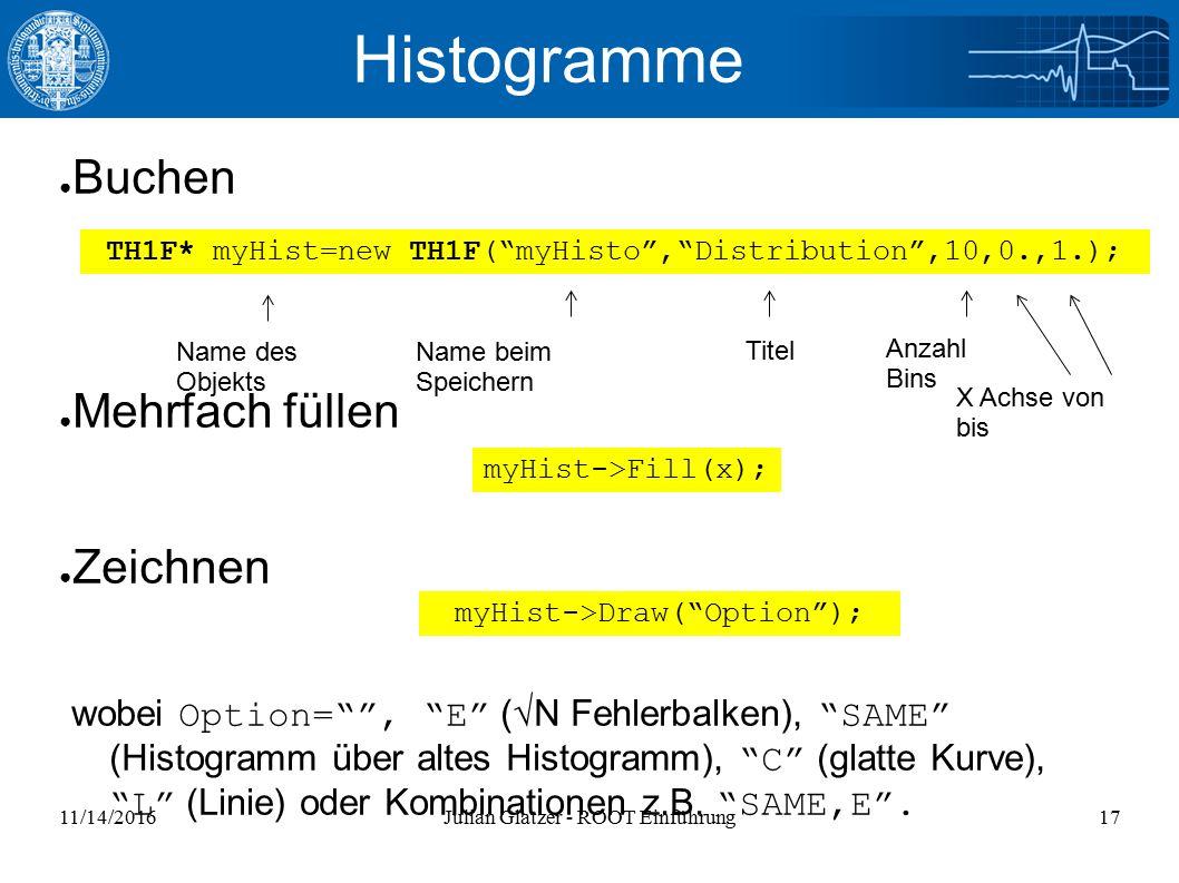 11/14/2016Julian Glatzer - ROOT Einführung17 Histogramme ● Buchen ● Mehrfach füllen ● Zeichnen wobei Option= , E (√N Fehlerbalken), SAME (Histogramm über altes Histogramm), C (glatte Kurve), L (Linie) oder Kombinationen z.B.
