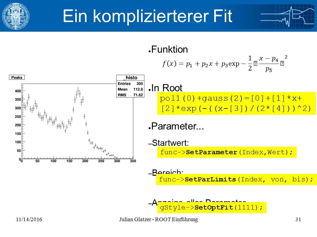 11/14/2016Julian Glatzer - ROOT Einführung31 Ein komplizierterer Fit ● Funktion ● In Root ● Parameter...