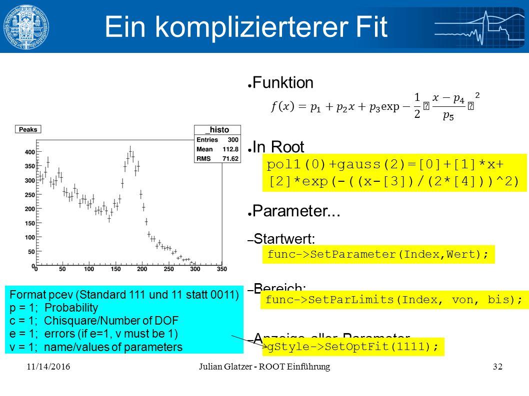 11/14/2016Julian Glatzer - ROOT Einführung32 Ein komplizierterer Fit ● Funktion ● In Root ● Parameter...