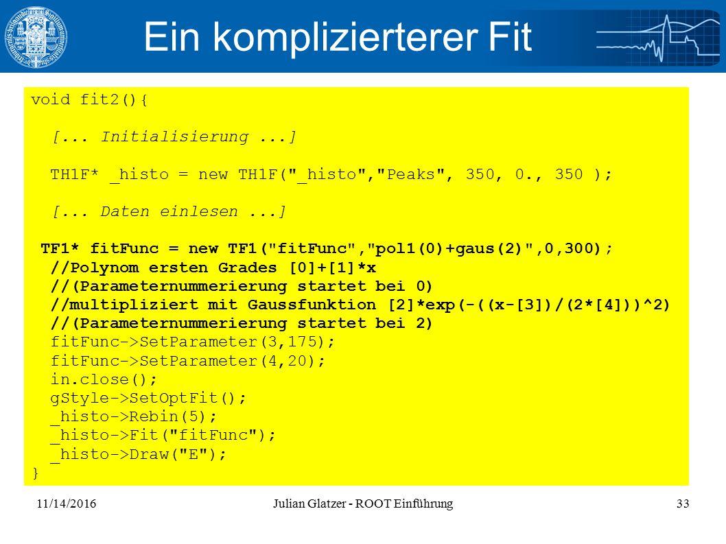 11/14/2016Julian Glatzer - ROOT Einführung33 Ein komplizierterer Fit void fit2(){ [...