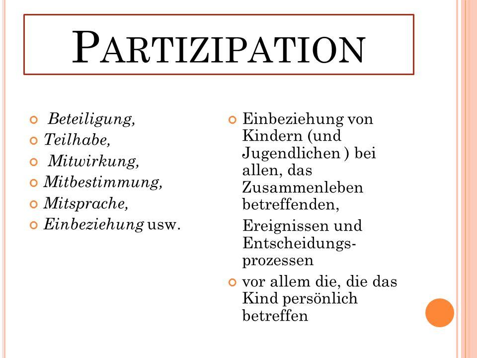 P ARTIZIPATION Beteiligung, Teilhabe, Mitwirkung, Mitbestimmung, Mitsprache, Einbeziehung usw.